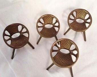 Brass Retro Vintage Miniature Patio Chairs set 4