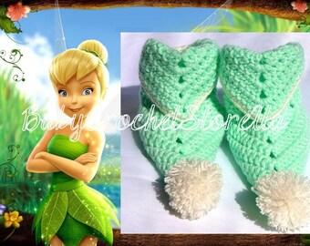 Tinkerbell Baby Crochet booties, Baby Crochet shoes, Crochet girl booties, Disney crochet booties, Mint green crochet booties, Baby Gift
