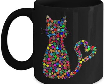 Cat Mug Colorful Pixel Ceramic Coffee Mug - Black