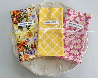 """Cloth Napkins for Spring and Summer 17"""" x 17"""" Choice of set of 4"""