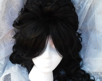 Black Victorian Wig, Marie Antoinette Wig, Beehive wig, bee hive, tall, Renaissance, Big Curly, Drag Queen Long, large wig, vintage, queen