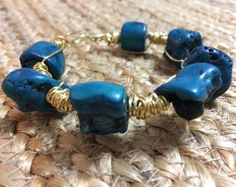 Blue Coral Wire Wrapped Gold Bangle