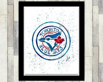 Toronto Blue Jays Inspired, MLB, Logo, Original Watercolour Painting, Baseball Art, Men's Gift, Boy's Gift, Wall Art, Boy's Room Decor