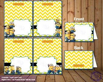 Minions Food Labels Tents.Minions Birthday Labels.Buffet Labels.Candy Bar Labels.Minions.Place Cards.Buffet Food Signs.Party Favors.Tents.