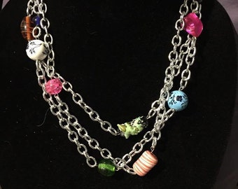 Layered Silver Chain Necklace with Beading