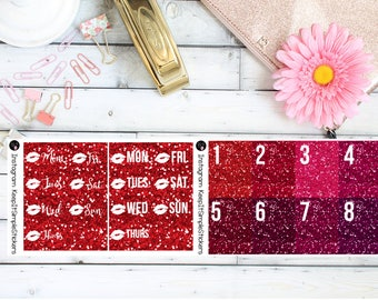 Red and Plum Glitter Date Covers