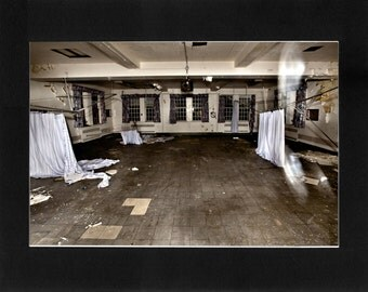"""Custom Matted Print 0306. Abandoned: Marlboro State Mental Hospital, NJ. """"Ghostly Glitch"""" - Collectable Photographic Artwork. (11"""" x 14"""")"""