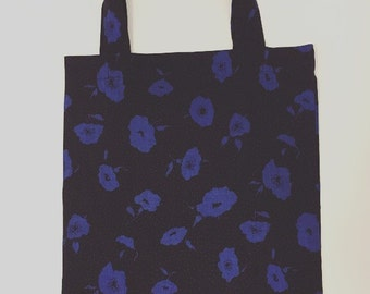 Classic Blue and black floral tote bag