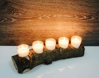 "Rustic Natural Wood Log Candle Holder, 13"" with 5 Holders Wedding Decor, Natural Wood Log."