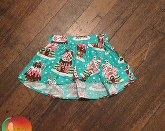 Gingerbread Christmas Tulip Skirt ~ Size 3