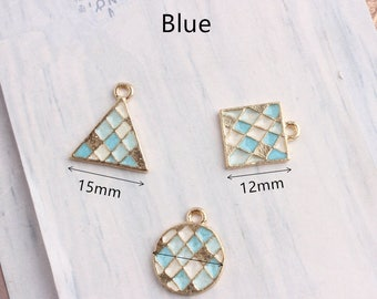 10Pcs Gold Plated Enamel Colorful Charms,  Tiangle,Round,Square Pendant Accessories Charm Bracelet/Necklace Floating Jewelry Crafts