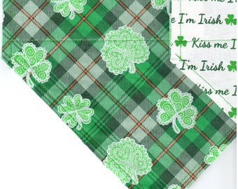 Celtic Shamrocks | Kiss me I'm Irish | St Patrick's Day Dog Bandana | Puppy Bandana | Pet Bandana | Over the Collar Bandana
