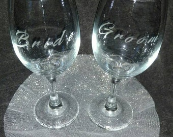 Bride and Groom Etched wine glass set
