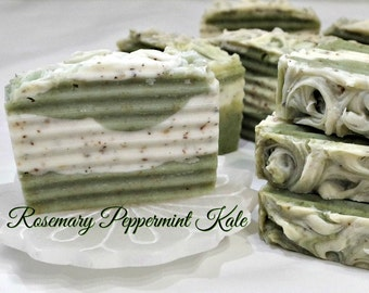 Rosemary Peppermint and Kale Handmade Artisan Soap
