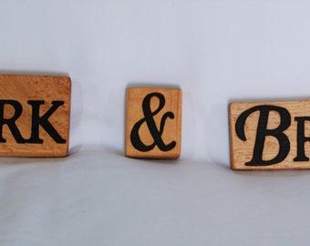 Handmade pyrography (wood burned) custom names
