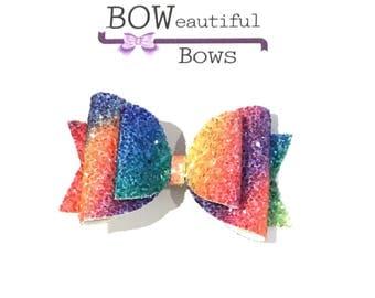 Hair bows Rainbow glitter