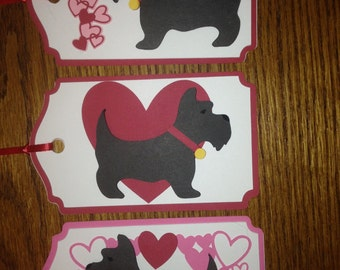 Crafty Tags by Kristin 3D Dimensional Layered Scottish Terrier Scottie Heart Love Valentine Gift Tag Assortment Pack of 3