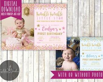 Twinkle Twinkle Little Star Birthday Invitation, Twinkle Twinkle Invite, Photo - Printable DIY