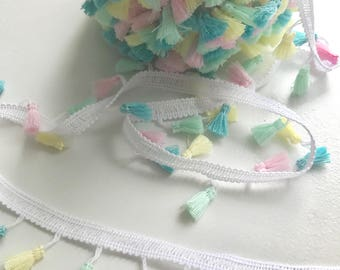 Tassel fringe trim , Pastel colours, fun sewing trim, sewing inspiration, cushion tassels