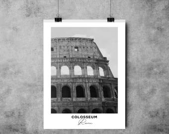 Colosseum - Black and White Print - Rome - A4/A3 - Postcard / Print / Poster / Landmark / Italy