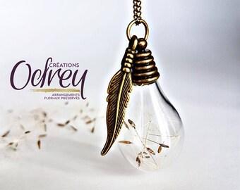 CLEARANCE pendant drop of water, dandelion, Dandelions, vintage jewelry, necklace terrarium, rear view mirror, lucky