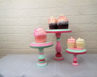Set of 3 Round Wood Pink and Gray Cupcake Stands Display Risers