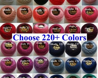 1 ANCHOR Pearl Cotton Crochet Embroidery Thread Ball Balls JP Coats Perle Cotton Crochet Floss 85m. size 8. 1 upto 228 Colors Free Shipping