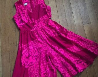 vintage 1960s jumpsuit // 60s pink Batik inspired romper