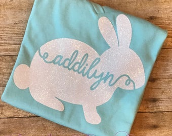 Personalized Easter Bunny Shirt, Easter Shirt, Girl's Easter Shirt, Personalized Easter Shirt, Easter Shirt with Name, Easter Outfit