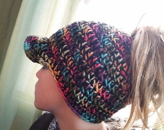 Ponytail hat with visor Pattern