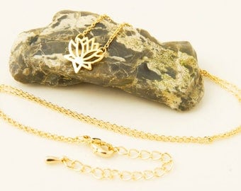 Lotus Necklace Gold Dainty Necklace Everyday Necklace Delicate Lotus Flower Necklace Yoga Necklace Lotus Jewelry Spiritual Necklace