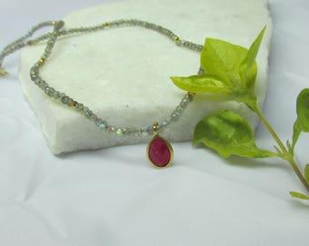 Labradorite Necklace,choker necklace,gemstone necklace, beaded necklace, short necklace,gray color necklace,stone necklace,grey color neckal