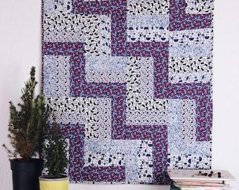vintage look baby blanket, organic quilt, wall hanging