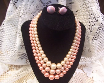 Three Strand Pink Graduated Pearl Necklace and Earring Set, Japan