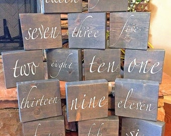 Wedding Table Numbers, Wedding Centerpieces, Block table number, Rustic Wedding Decor, Table Number, Wedding Decoration, Set of 10, Painted