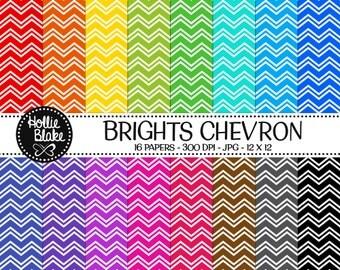 Buy 1 Get 1 Free!! 16 Bright Chevron Digital Paper • Rainbow Digital Paper • Commercial Use • Instant Download • #CHEVRON-108-2-B