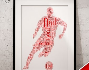 Personalised Father's Day Gift - Word Art Keepsake Football Team Any Colour