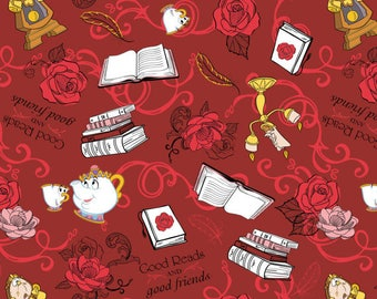 Disney Beauty and the Beast Fabric Cotton by the yard In stock