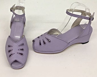 Rita Lilac Wedge Sandals with a H-Back