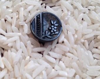 3 antique black glass buttons vintage buttons estate find #8