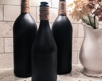 Chalkboard bottle, chalkboard vase, chalkboard sign, home decor, home accents, flower vase, wedding decorations, valentines day