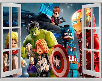 Lego superheroes wall sticker, decal, self-adhesive vinyl