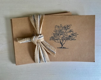 Handmade Cards: Set of 5, Tree of Life, Blank Card, Birthday, Nature, Card for Him, Card for Her, Rustic Greeting Cards, Sympathy