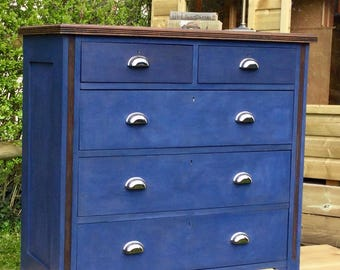 Large Inky Blue chest of drawers.
