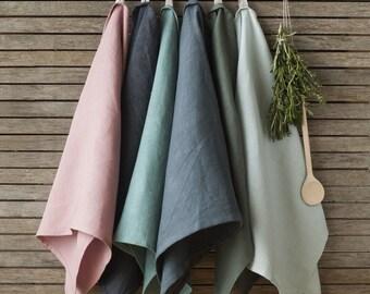 Linen Tea Towels - Set Of 2,Linen Dish Towels,Grey Linen Kitchen Towel,Natural Linen Towels,Softened Linen Towel,Kitchen Linens,Soft Linens