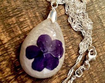 Purple flower tear drop pendant, sterling silver jewelry, tear drop pendant, resin jewelry, flower jewelry