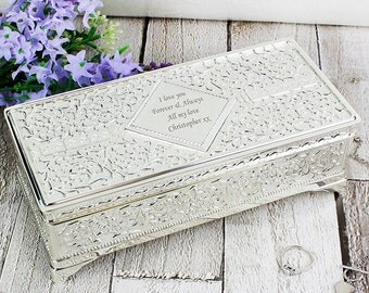 Personalised Antique Silver Plated Jewellery Box - Beautiful Gift For Her