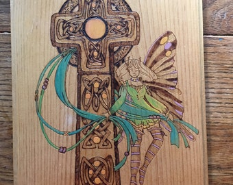 Celtic cross and fairy woodburning