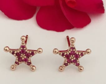 14k rose gold star ruby earrings