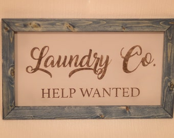 Laundry Room Help Wanted Sign Help Wanted Sign  Etsy